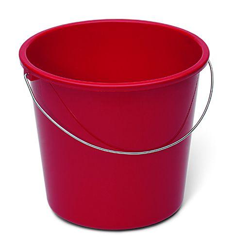Haushaltseimer rot mit Metallbügel