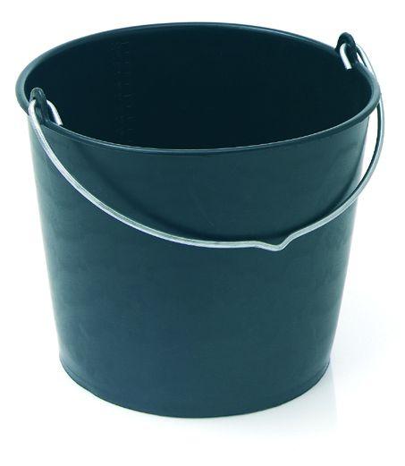 Baueimer 12 Liter schwarz mit Nasenbügel