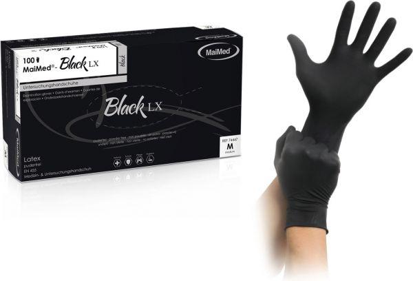 MaiMed black LX Latex schwarze Einmalhandschuhe puderfrei