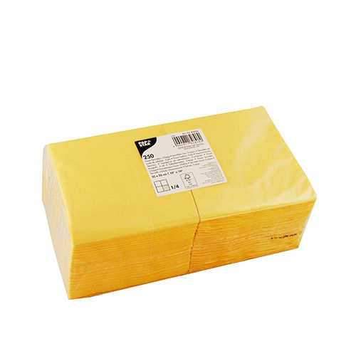Papstar Servietten 3-lagig 1/4 Falz 24 cm x 24 cm gelb